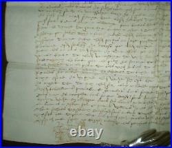 1584, Large Antique Original Handwritten Manuscript On Vellum, Signed With Seal