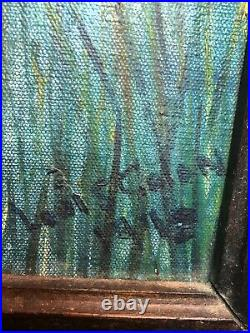 1940s LARGE VINTAGE ARTIST SIGNED MOUNTAIN FARM LANDSCAPE OIL ON CANVAS PAINTING