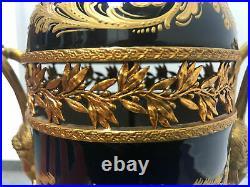 19TH Large Sevres Vase antique signed French bronze porcelain decorated Gold