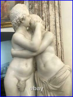 19c Amazing Antique Carrara Marble Sculpture Kiss Signed 188s Large