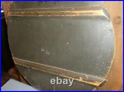 19th C EARLY OLD ORIGINAL PEWTER GRAY PAINT LARGE WOOD PRIMITIVE PIE BOARD