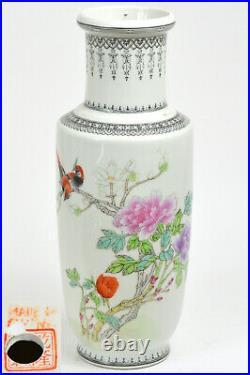 20th Chinese PRC Large 12 Handpainted Fencai Porcelain Rouleau Vase