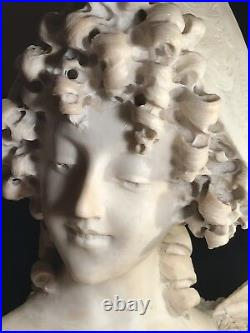 A Large Antique Marble Or Alabaster Bust Of A Smiling Lady Signed Mayyani 27