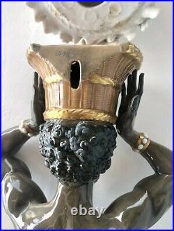 ALGORA Porcelain Large 63 cm Blackamoor Figural Wall Vase Signed