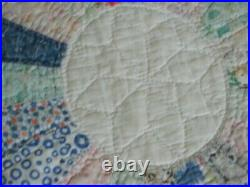 ANTIQUE 1920s 30s VINTAGE HAND MADE DRESDEN PLATE COTTON QUILT signed