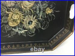 ANTIQUE Vintage BLACK HAND PAINTED TOLE FLORAL METAL SERVING TRAY LARGE signed
