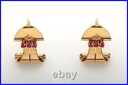 Antique 1940s RETRO Signed Cartier Natural RUBY Screwback Earrings RARE LARGE