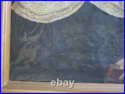 Antique 19th Century Painting Portrait Large Female Woman Model Signed 1830's