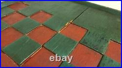 Antique American Primitive Checkerboard Large Green & Red Checkers Game Board