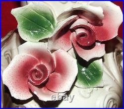 Antique Beautiful Capodimonte Porcelain Large 15 Vase / Urn Signed Italy Roses