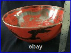 Antique Eiraku Large Porcelain Japanese Red-Orange & Silver Dragon Bowl Signed
