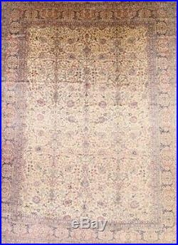 Antique Floral MUTED Ivory/Pink Kirman LARGE Rug Hand-Knotted Signed Wool 12x16