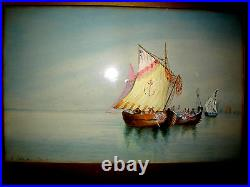 Antique Framed Original signed Dele Coeuillerie Large Water Color Painting Boats