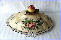 Antique French Veuve Perrin Marseille faience large tureen 18th century, signed