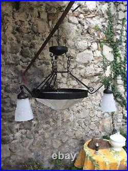 Antique French Wrought Iron Art Deco CHANDELIER Signed MULLER FRERES LUNEVILLE