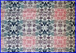 Antique Jacquard Multicolor Signed Homespun Coverlet with Fringe