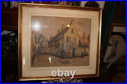Antique Julien Celos Signed Lithograph European Village Houses Framed Large