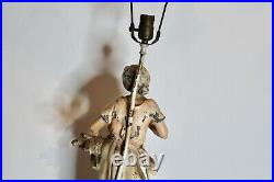 Antique L F MOREAU Figural Table Lamp Paris France Woman Working Fields Signed