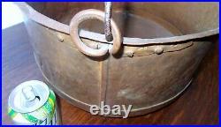 Antique LARGE Signed COPPER Metal CAULDRON POT Kettle Hand Crafted Log Holder