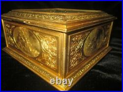 Antique Large Bronze Casket Box French Signed J. Chereau Le Bal Pare
