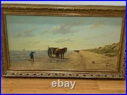 Antique Large Signed Oil Painting Man Horse Carriage Seaside Beach Mussels Hunt