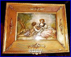 Antique Large size French Bronze box with hnd ptd inset on iv artist signed