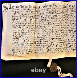 Antique Manuscript On A Very Large Parchment With 2 Mounted Wax Seals 1625