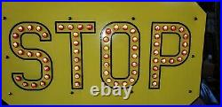 Antique RARE RESTORED LARGE STOP SIGN Cat Eyes Parson Reflectors 36 X 36 1920S