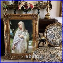Antique Style Oil Painting Portrait of a Virgin After Bouguereau Large Frame