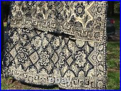 Antique Victorian Signed 1847 Salvaged Large Textile Tapestry Coverlet Design