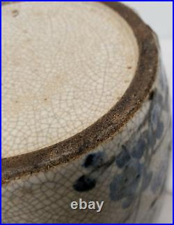 Antique Vintage Japanese Signed Art Pottery Large Vase Prunus Crackle