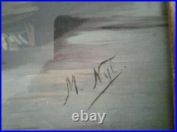 Antique Vintage Large Framed Print Pansies In Basket Signed. M. NYE