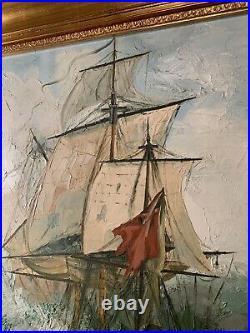 Antique Vintage Signed Large Original Oil On Canvas Superb Galleon Nautical