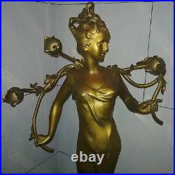Antique large Art Nouveau spelter figural lamp lady signed Anton Nelson 1900s