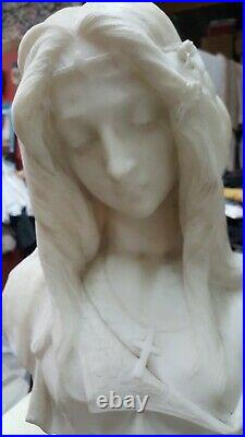 Antique, marble Italian Bust, 19C, large, life size Virgin Mary hand carved mint