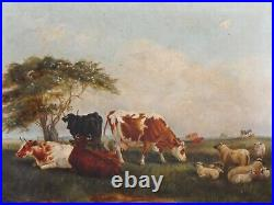 Antique oil painting 19th century cows cattle countryside landscape Victorian