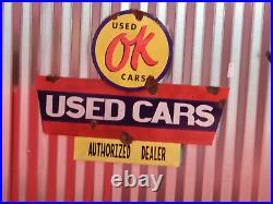 Antique style porcelain look OK used cars dealer service large sign GM Chevy