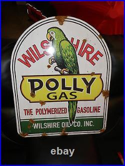 Antique style porcelain look Polly gas Service station pump LARGE dealer sign