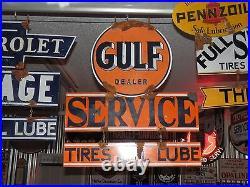 Antique style vintage vintage Gulf dealer large 2 piece dealer service gas sign
