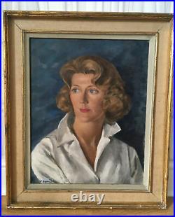 BEAUTIFUL VINTAGE 1950s OIL PAINTING LADY PORTRAIT ON CANVAS SIGNED LARGE 65cm