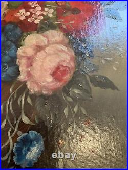 Beautiful ANTIQUE Large Oval FLOWER/ Roses Still-Life Framed Oil Painting SIGNED