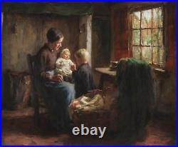 Bernard Pothast Large Antique Dutch Oil Painting Genre Children Interior Signed
