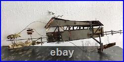 C. Curtis Jere Signed Vtg Covered Bridge Birds Boat Metal Large Wall Sculpture