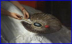 Charles Louis Verwee Large Antique Oil Painting Interior Figures Ladies Signed