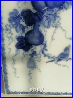 Chinese Antique Fine Large Blue And White Porcelaine Plaque Panel Signed Shuzan