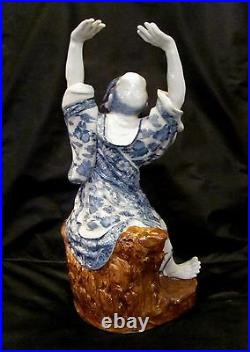 Chinese Blue and White Porcelain Figurine of a Louhan Large (18)