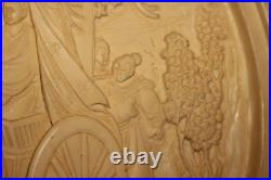 Chinese Carved Resin Tabletop Wall Plaque Nobility Horse Carriage Signed Large