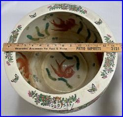 Chinese Porcelain Famille Rose Fish Bowl Planter LARGE 14 Signed Withstand