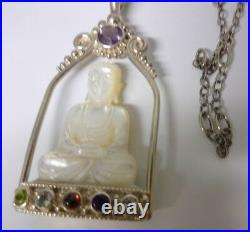 Chinese Signed SAJEN Sterling Silver Hand Carved Buddha Large Pendant Necklace