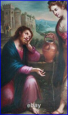 Christ & Woman Renaissance Religious Old Master Saint Large Antique Oil Painting